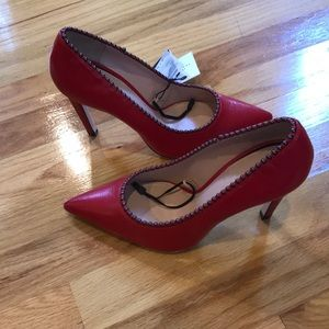 NWT Zara red leather pointed heels Size 7.5